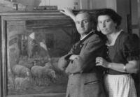 Johann Georg Schlech und Ehefrau Margarete im Atelier.