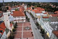 Blick vom Stadtturm auf den Schrannenplatz