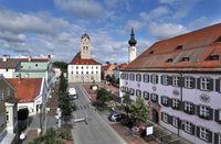 Blick vom Schönen Turm zum Schrannenplatz