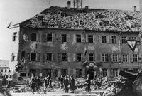 Beschädigtes Erdinger Rathaus